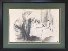 Jean-Louis FORAIN 1852-1931.Aprés le repas.Lithographie.SBD.21x31.Cadre.