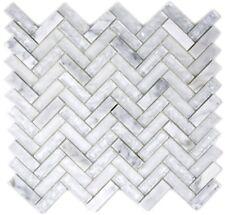 Mosaïque arête de hareng translucide verre pierre blanc 87HB-0111_f | 10 plaques