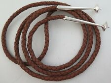 "44"" Top Quality Brown Leather 6 Ply Bolo Tie Cord & Large Sterling Silver Tips"