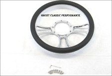 Chevy Ford Billet Aluminum 14'' Steering Wheel Half Wrap Black Leather (9 Hole)