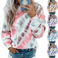 Dye Long Sleeve Tops Blouse Casual Jumper Ladies Tie Women Pullover Sweatshirt