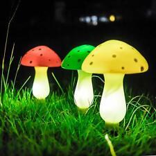 Outdoor Garden Solar Powered Mushroom 3-Light LED Pathway Light