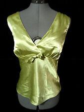 NINE WEST Satin Cami Top sz 14 Mint Green empire waist Double v neck Blouse tank