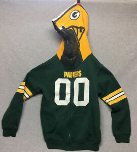 NFL Team Apparel Youth Large 14/16 Green Bay Packers Full Zip Hoodie Helmet 00