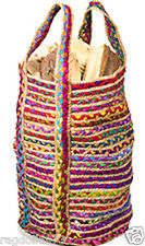 FAIR TRADE SHABBY CHIC COTTON JUTE BRAIDED MULTI COLOUR TALL BAG - LOTS OF USES!