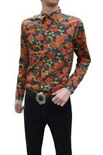 Mens Flower SHIRT vtg 70s indie 60's Psychedelic Mod s m l xl Retro Red Floral