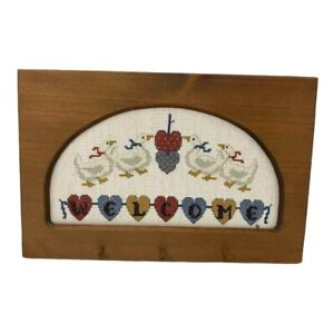 Vintage solid wood cross stitched ducks welcome key ring holder