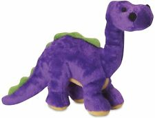 "Godog Bruto Purple Dinosaur With chew guard 10"" plush dog toy squeaker Small"