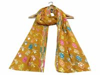 Om Vintage Dupatta Georgette Hand Embroidered Yellow Stole Veil Scarves W-1696