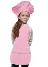 Pink Kids Apron & Chef Hat Set High Quality Poly/Cotton Twill Fabric