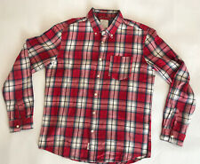 Mens FOSTERS Denim Long Sleeve Button Down Shirt Size L Plaid