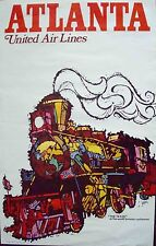 UNITED AIRLINES ATLANTA JEBARY Art Vintage Travel poster 1969 25x40 NM