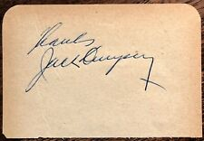 """JACK DEMPSEY AUTOGRAPHED SIGNED 3"""" x 4"""" 1/2 ALBUM PAGE BOXING HEAVYWEIGHT CHAMP"""