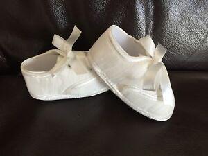 Baby Boy White/Ivory Christening Baptism Pram Wedding Shoes Booties   0-12Month