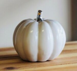 Large Ceramic White Pumpkin with Silver Stem Autumn Halloween Decoration new!