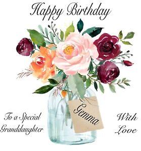 PERSONALISED BIRTHDAY CARD 'Vase of Flowers' Daughter Sister Granddaughter etc