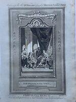 1770 David Playing Before Saul I Samuel Biblical Antique Copperplate Print