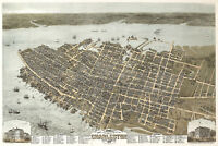 1872 Historic Map Charleston South Carolina Panoramic Birds Eye View Art Poster