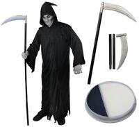GRIM REAPER COSTUME ADULTS DEATH GHOUL HALLOWEEN FANCY DRESS SCYTHE FACEPAINT