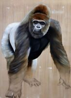 "Extra Large Gorilla Wall Art Canvas 20"" X 30"" solid frame"