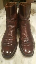 Florsheim Beatle Boots Burgundy/Brown Leather Zipper Hipster Square Toe Sz 8.5D