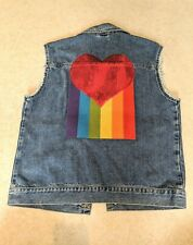Topman Size Large Sleeveless Denim Jacket with Rainbow Motif - Pride Collection