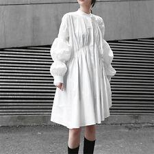 Womens Irregular Pleated Lantern Sleeves Large Swing Shirt Dress Loose Oversize