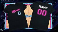 Customized Men's black T-shirt design of Miami Heat New Era (choose name & #)
