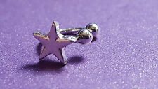 Ear Cuff - SILVER STAR -  UPPER HELIX CARTILAGE CLIP EARRING GIFT UK