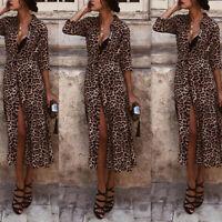 ❤️ Women's Long Sleeve Leopard Long Maxi Dress Summer Beach Causal Shirt Dresses