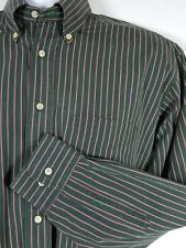TOMMY HILFIGER Mens Shirt 15.5 32/33 Dark Green Red White Striped Button Down