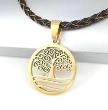 Gold Baum Leben Edelstahl Kette Anhänger Braun Halskette Leder Geflochten