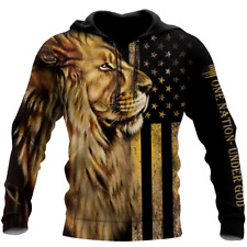 NEW One Nation Under God Lion 3D Hoodie All Over Printed Unisex Best Price Us