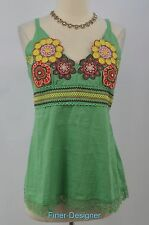 DEJAVU Tnnk Top Floral Embroidery embellished lace cami blouse sleeveless top L