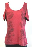 Maurices Womens Size M Red Studded Open Off Shoulder Short Sleeve Shirt Top