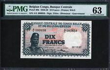 Belgian Congo 1956-1959, 10 Francs, P30b,PMG 63 UNC