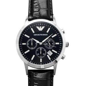 EMPORIO ARMANI  AR2447 Black Dial Men's Watch Genuine FreeS&H