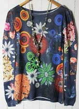 v&f ITALIA FINO Pullover lavorato a maglia camicia 36 - 38 blu marino