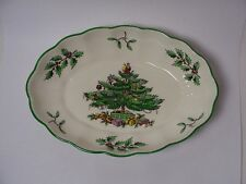 """Spode, England - """"Christmas Tree"""", Oval Fluted Candy / Nut Dish S3324"""