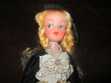 Vintage cheap plastic look alike pouty Sindy doll in fun costume French girl