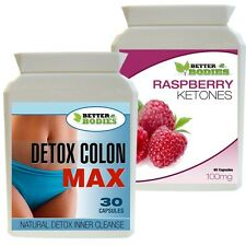 30 RASPBERRY KETONES & 30 DETOX COLON CLEANSE COMBO FAT BURN SLIMMING DIET PILLS