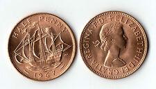 1967 UNC COPPER HALF PENNY COIN