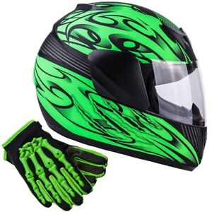 Kids Matte Green Motorcycle Helmet Full Face Child DOT Gloves Youth Combo