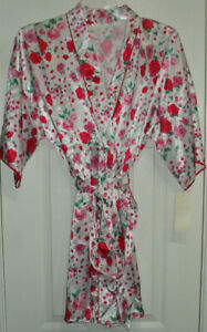 Delicates Women's Short Robe Pink, Red, Green on White Short Sleeves Sz M