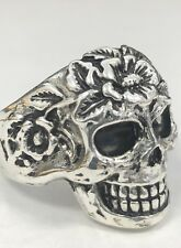 Mens Skull Ring Size 12 Sterling Silver Nt Scrap 925  Gothic NEW !! Antiqued