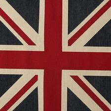 LARGE WOVEN UNION JACK FLAG HEAVY LINEN LOOK UPHOLSTERY CUSHION PANEL FABRIC UK