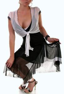 Damen Kleid Flamenco Latino Tanzkleid Bolero Volant Lagenlook schwarz weiß 38 40