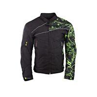 Mens Motorcycle Motorbike Jacket Waterproof Textile Cordura Black CE Kawasaki