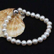 "Genuine Natural 8-9mm White/Pink Cultured Freshwater Pearl Bracelet 7.5"""
