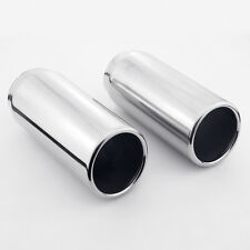 "2PCS 2.5"" Inlet 3"" Slant Cut Outlet Rolled Edge 304 Stainless Steel Exhaust Tips"